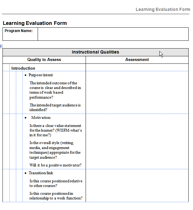 assessing the design of a learning program with this evaluation form.
