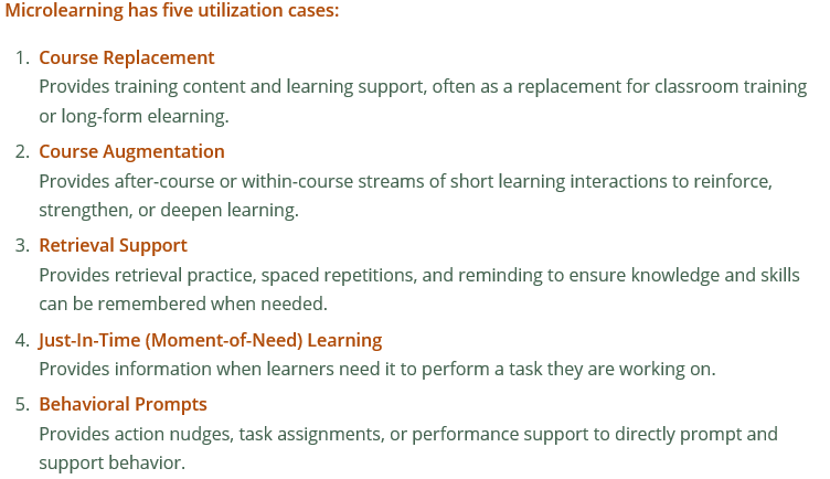Will Thalheimer's definition of microlearning