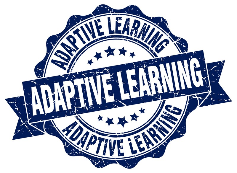 a badge with the words Adaptive Learning three times