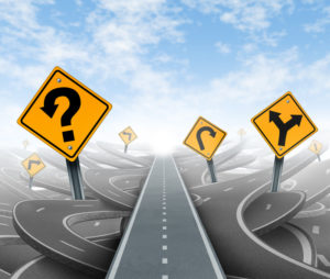 Abstract image of winding roads and signs, and a straight lane representing the learning lane concept